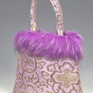 FHB - Light Purple Satin Handbag w/Fur (Fortune Flower Brocade)