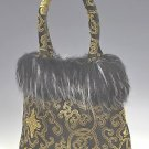 FHB - Black/Gold Satin Handbag w/Fur (Fortune Flower Brocade)