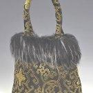 FHB - Black/Gold Satin Handbag w/Fur (Fortune Flower Brocade)