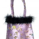 FHB2 - Light Purple Satin Handbag w/Feather (Butterfly Brocade)