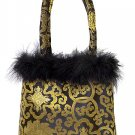 FHB2 - Black/Gold Satin Handbag w/Feather (Fortune Flower Brocade)