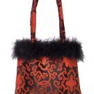 FHB2 - Black/Red Satin Handbag w/Feather (Fortune Flower Brocade)