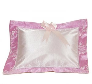 Light Pink-Silver Cherry Blossom Brocade - I Frogee Baby Pillow