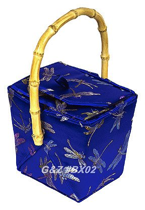 BX02 - Diamond Blue Chinese 'Take-Out-Box' Shape Handbags(Dragonfly Brocade)