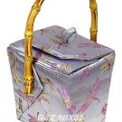 BX02 - Silver Chinese 'Take-Out-Box' Shape Handbags(Dragonfly Brocade)