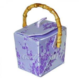 BX01 Silver/Light Purple Take-Out-Box Handbags(Cherry Blossom Brocade)