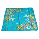 DFJ004 Large Square Chinese Silk Scarf - Skyblue Butterflies