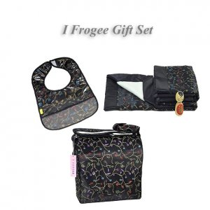 Black Chili Flower Brocade - I Frogee Baby Gift Set