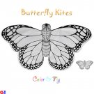 2 Rayon Plain Butterfly Kites For Coloring & Flying