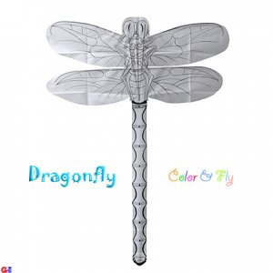 2 Chinese Rayon Plain Dragonfly Kites For Coloring & Flying