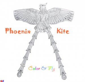 2 Chinese Phoenix Kites For Coloring & Flying