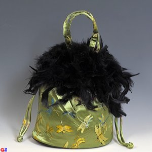 Feathered Draw-String Handbags(Green Dragonfly Brocade)