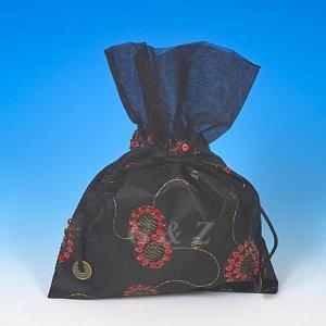 Black Mini Pull-Close Pouch(Glittering Embroidery)