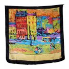 DFJ014 Large Square Silk Scarf - Oil Painting (Black Border)