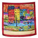 DFJ014 Large Square Silk Scarf - Oil Painting (Red Border)