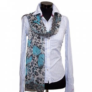 CSJ009 Chiffon Georgette Long Scarf Shawl - Blue Butterflies