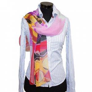 CSJ010 Chiffon Georgette Long Scarf Shawl - Red/Pink/Yellow