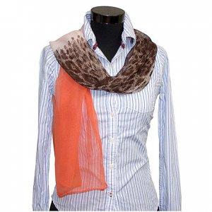 CSJ013 Chiffon Georgette Long Scarf Shawl - Orange & Leopard Print