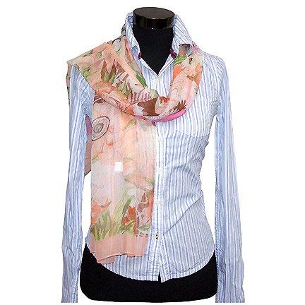 CSJ014 Chiffon Georgette Long Scarf Shawl - Peach Floral Print