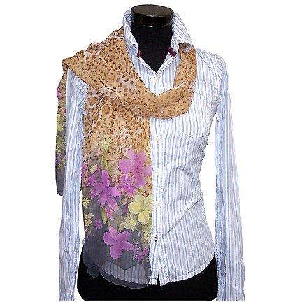 CSJ015 Chiffon Georgette Long Scarf Shawl - Flower & Leopard Print