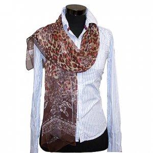CSJ016 Chiffon Georgette Long Scarf Shawl - Brown Leopard Print