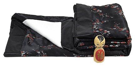 Black w/Red-Silver Cherry Blossom Brocade Baby Blankets
