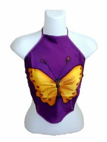 Dark Purple Silk Chinese Halter Tops (DU DOU) With Large Butterfly Print