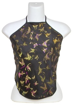 Chinese Butterfly Brocade Halter Tops - Black - 1 Size Fits Most (DU DOU)