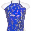 Chinese Dragonfly Brocade Halter Tops - Blue - 1 Size Fits Most (DU DOU)