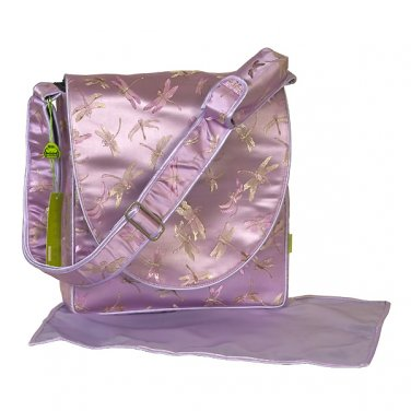 IFD10A - Lavender Dragonfly Brocade - I Frogee Messenger Diaper Bags