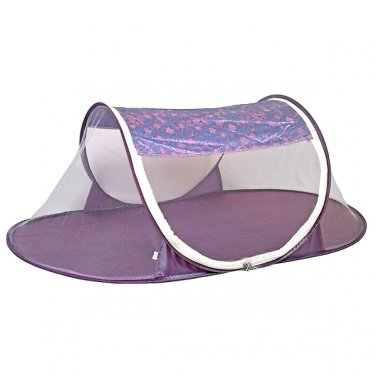 babycamp02 - Purple/Pink Floral Brocade - 'I Frogee' Foldable Baby Tent