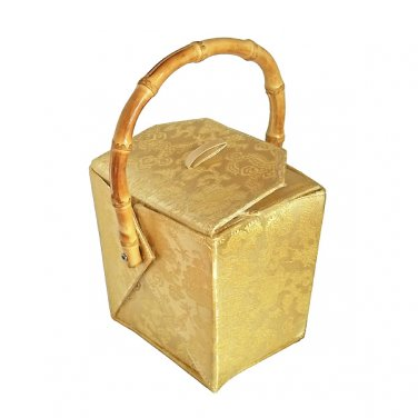 BX03 - Gold Chinese 'Take-Out-Box' Shape Handbags(Dragon Brocade)