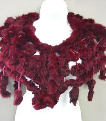 Burgundy Rabbit Fur Shawl