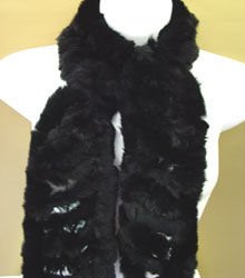 Black Rabbit Fur Muffler Scarf