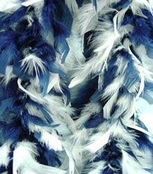 Navy Blue & White Feather BOA