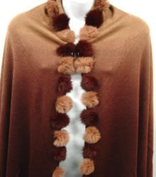2 Tone Brown Rabbit Fur Shawl