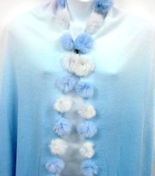 2 Tone Blue Rabbit Fur Shawl