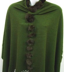 Hunter Green Rabbit Fur Pom Shawl 1SFB3348