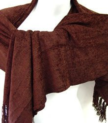 Brown Chenille Feel Shawl