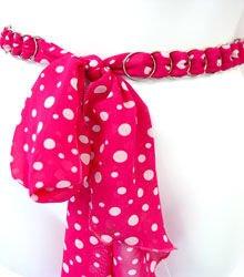 Hot Pink & White Polka Dot Chiffon Sash Belt 100RSASH6