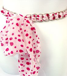 Pink & White Polka Dot Chiffon Sash Belt 100RSASH1