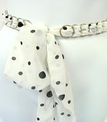 White & Black Chiffon Sash Belt 100RSASH4