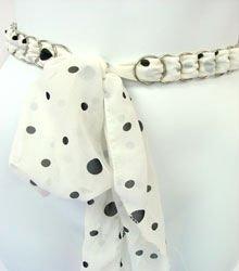 White & Black Chiffon Sash Belt 100RSASH4