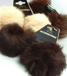 12 Assorted Color Rabbit Fur Ponytail Holders 1HA4004665