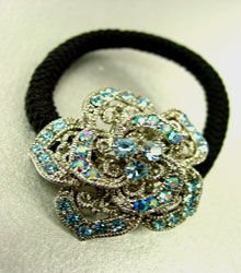 Blue Rose Crystal Ponytail Holder 1HA2520225