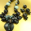 Grey Wood Beads Necklace Set 1N0301052