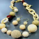 Beige Wood Cord Beads Necklace Set 1N0384067