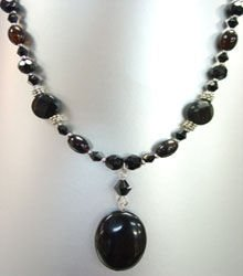 Natural Black Quartz Stones Necklace 1N115544