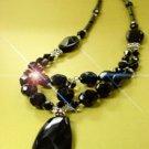 Natural Black Stone & Swarovski Necklace 1N139204