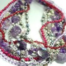 Purple Stone Beads Pearls Necklace 1N223643